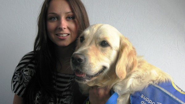 Casey Catlin and Paddy, disability assistance dog