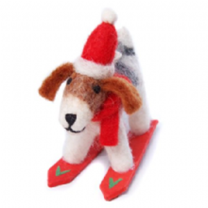 Fox terrier on skis Christmas decoration