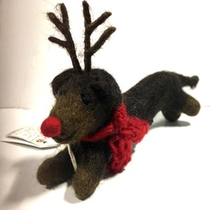 Sausage Dog with antlers Christmas decoration