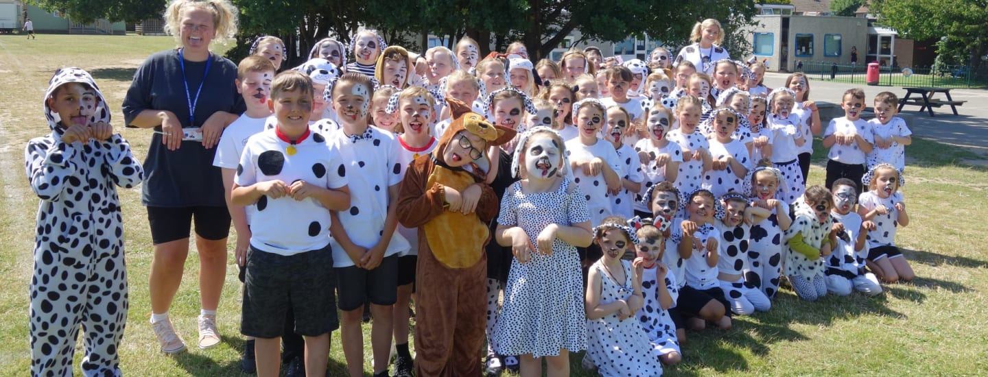 Primary school children in Dress Like a Dog Day success