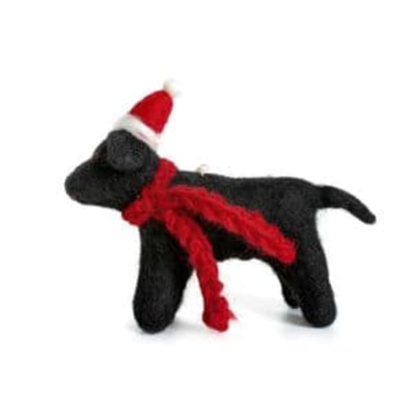Black Labrador with hat and scarf Christmas tree decoration
